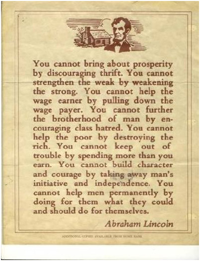 Lincoln on Prosperity